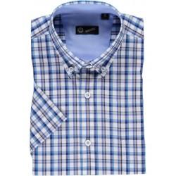 Camisa de xadrez com contraste azul